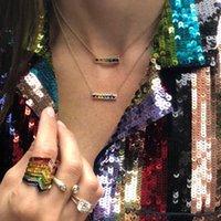 قلادة القلائد المبهرة قوس قزح بار المرور ضوء قلادة معلقة الذهب سلسلة اللون لامعة بسيطة المرأة الملونة تشيكوسلوفاكيا الأزياء الهدايا
