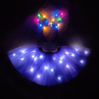 Skirts Purple Light Up Girls Clothes Tutu LED Skirt Set Princess Party Tutus Tulle Pettiskirt Children Ballet Tron Dance Clothing