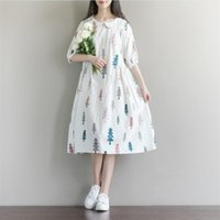 Maternity Dresses Pregnancy Dress Clothes Arrival For Pregnant Women Fashion Doll Collar Print Cotton Linen Loose Casual
