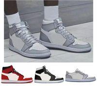 Melhor Qualidade 1 Cinza e Branco Vermelho Sapatas de Basquete Preto Homens Mulheres 1s Branco Cinza Esportes Sapatilhas com Caixa