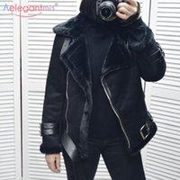 Kış Kürk Ceket kadın Uzun Kollu Kemer Sıcak Süet Deri Kalınlaşmış Kuzu Yün Kadın Ceket Bej Siyah Faux