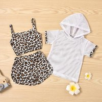 Clothing Sets #VW Born Infant Baby Girls Suit Leopard Print Exposed Navel Suspender Tops+Short Pants+Hoodie Solid Coat Vetement Fille