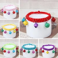 Dog Collars & Leashes Lovely Collar Pure Hand Knitting Bell Pet For Puppy And Cat Pets Supplies Dogs Accessories