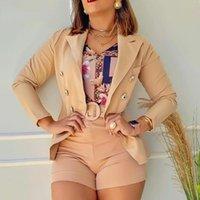 Women's Tracksuits Elegant Button Bodycon Short Blazer Set Women 2 Piece