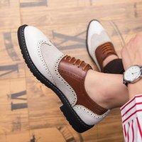 Zapatos de cuero para hombre Vestido casual de tacón bajo Brock Primavera Botas de tobillo Retro Classic Men's Casual