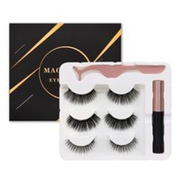 Magnetic Eyelashes Kit 3 Pairs With Eyeliner Tweezer Waterproof Reusable Natural Look No Glue Needed False Lashes Easy to Wear