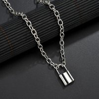 Pendant Necklaces Punk Chain Golden Silver Color With Lock Necklace For Women Men Padlock 2021 Statement Gothic Fashion Jewelry