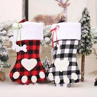 Decoraciones de Navidad Comprobado Stocking SACK Plaid Perro Plaz Calcetines Chimenea Bolsa de caramelo Colgante Accesorios Fiesta Adorno Regalo