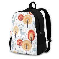 Backpack Men WomenFolk Deer And Tree Students High Middle School Bags For Laptop Travel Backpacks