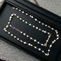 Collar de diseñador superior clásico letra doble logo perla suéter cadena regalo de San Valentín con caja LH-C9