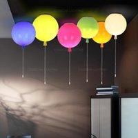 Ceiling Lights Balloon Light E27 Colorful Flush Mount Lamp For Nursery Kids Room Girls Pull Cord Switch White Yellow Green