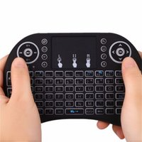 미니 RII I8 무선 키보드 2.4G 에어 마우스 원격 제어 스마트 안드로이드 TV 상자 태블릿 PC에 대 한 터치 패드 백라이트 백라이트 소매 포장으로 영어