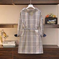 드레스 큰 크기 여성의 봄 모델 뚱뚱한 여동생의 슬림하고 고기 덮여 줄무늬 격자 무늬 드레스