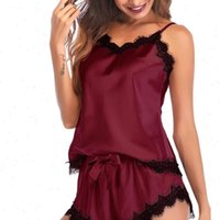 Pajamas Bow Sleeveless Strap Women Sleepwear Nightwear Lace Trim Satin Cami Top Pajama Sets sexy nightgowns nighty 8