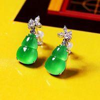 Stud Natural Hetian Jasper Gourd Designer Unique Diamond-studded Craft Earrings Retro Luxury Noble Charm Women's Brand Silver Jewelry
