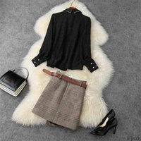 Two Piece Dress European and American women's wear winter style Long-sleeved lace shirt with beaded lapel Plaid skirt Fashion suits