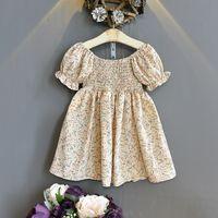 Girls floral printed dresses INS summer Kids ruffle puff sleeve dress korean style children chiffon clothing A6995
