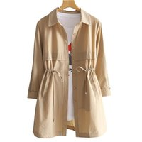 Women's Trench Coats Windbreaker Coat Female Mid-long Spring Summer Fashion Loose Plus-szie Seven-point Sleeve Thin Style NZYD1346