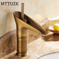 Bathroom Sink Faucets MTTUZK Wholesale Contemporary Modern Open Spout Water Tap Vessel Faucet In Antique Brass Waterfall Basin
