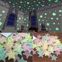 Stelle 3D Glow in the Dark Wall Sticker Adesivi fluorescenti luminosi per bambini camera bambino camera da letto soffitto decorazioni per la casa 1bag / 100pcs iia962