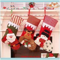 Decorações Festivas Suprimentos Gardenhristmas Engraçado Imprimindo Meias Casuais Dos Desenhos Animados Home Festa Santa Claus Saco De Presente Decoração de Natal 45x2