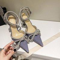 Elbise Ayakkabı Kadın Ayakkabı Bling Sequins Düğün Pompaları Sivri Burun Yüksek Topuk Üzerinde Kayma 9.5 cm Metal Yay Elmas Glitter Mach Mor