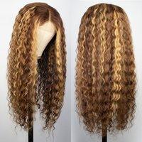 İki Ton Ombre Vurgulamak Dantel Ön Peruk 100% Brezilyalı Virgin İnsan Saç Dalgalı Ipek Taban Dantel Peruk Uzun Dalgalı Kadınlar Için