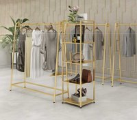 Hangers & Racks Clothes Rack Clothing Store Special Display Floor Type Iron Shelf Gold Women's Pole Middle Island