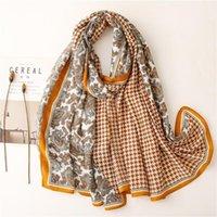 Lenços outono paisley elegante lenço mulheres grandes xale hijab houndstooth impressão headwear