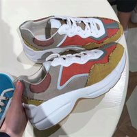 2021 Herren GG Rhyton Sneaker Frauen Designer Schuhe Plattform Jacquard Stoff Multicolor Sneakers Leder Runner Trainer Outdoor Casual Schuhe Top Qualität mit Box