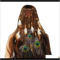 EE. UU. Almacén Hippie Dreamcatcher Cadenas de cabeza Cadenas Boho Tocado tribal con cuentas Accesorios de banda de pavo real JZ10A DIEADA ECBNK
