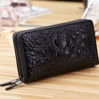 Wallets Men's Wallet With Real Leather Crocodile Pattern Luxury Authentic Medium-long Handbag Double Zipper Large Capacity