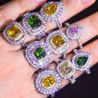 Womens Wedding Rings Fashion Gemstone Engagement Rings For Women Jewelry Simulated Diamond Princess Party Ring