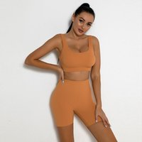 Women's Tracksuits Two Piece Seamless Sport Set Women Crop Top Bra Shorts Workout Outfit Fitness Wear Run Gym Suit Female Yoga Sets Clothes