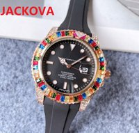 Colorful Big rainbow ring diamonds mens womens wristwatches 41mm quartz movement rubber silicone watch