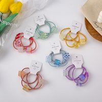6 colors 3pcs set Hair Rubber Bands for teenager girls lovely Cartoon cube shape Elastic pony tail rope