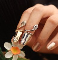 Exquisite Cute Retro Queen Dragonfly Design Rhinestone Plum Snake Gold/Silver Ring Finger Nail