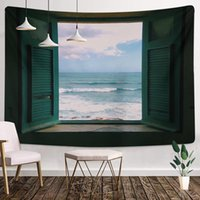 Sea Outside The Window Tapestry Hippie Wall Hanging Starry Night Sky Moon Tapestries Psychedelic Wall Cloth Carpet Ceiling