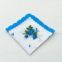 Lenço de lenço Cores Crescent Impresso Lenço de Algodão Floral Hankie Flor Bordado Lenço Colorido Ladies Pocket Towel HHC6849
