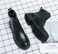 Autumn new men fashion Martin boots PU leather work clothes cowboy motorcycle business dress low heel round head comfortable DH083