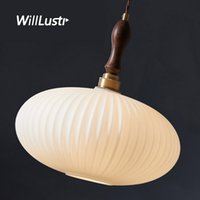 Creative Mouth-Blown Glass Pendant Lamp Walnut Wood Copper Head Suspension Light Hotel Cafe Living Dining Bedroom Oval Lighting