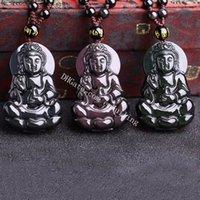 Ojo de arco iris natural Obsidian Guanyin Lucky Amuleto Colgante Collar Kwan Yin Diosa de la misericordia Tallado Tallado Hecho a mano Talismán con extensión Cadena de cuentas para hombres o mujeres