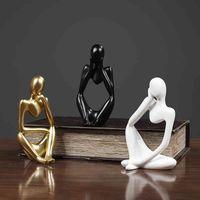Mini Charakter Statue Denker Abstrakte Harz Skulptur Home Wohnzimmer Dekoration Ornamente Desktop Möbel 210326
