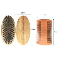 Bath Accessory Set Mustache Grooming Trimming 100% Natural Exfoliating Custom Logo Boar Bristle Men Beard Brush Wooden And Comb