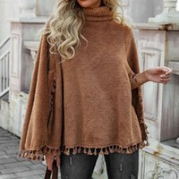 Scarves Women Winter Poncho Cape Solid Color High-neck Fringed Hem Double-sided Plush Shawl Wrap Oversized Long-sleeved Warm