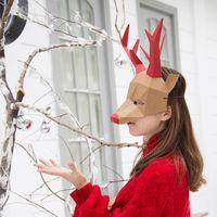 Maskottchen Puppenkostüm 3D Papier Deer Fuchs Elefant Kopf Maske Kopfbedeckung Tier Halloween Requisiten Frau Männer Party Rollenspiel Dress Up DIY Handwerk Masken