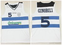 Custom Made # 5 Manu Ginobili Team Argentina Bianco Retro Classic Basket Basket Jersey Mens Stitched Numero e nome Maglie Dimensioni 2XS-4XL
