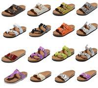 Moda Tasarım Stil Erkek S Kadın Düz Sandalet Rahat Casual İki Toka Ayakkabı Kutusu Yaz Plaj Hakiki Deri Terlik Unisex