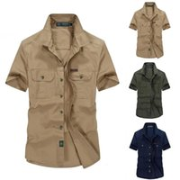 Men's Casual Shirts Cotton Outdoor Military Style Washed Short Sleeve Shirt Blouse Men Plus Sizes Mens Slim Fit Chemise