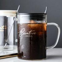 Wine Glasses Transparencia Glass Cold Drink Cup Restaurant Milk Fruit Juice Bring Cover Spoon Office Teacup Vasos De Cristal